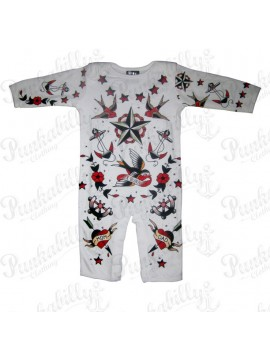 Long Sleeve Rockabilly Baby Onesie