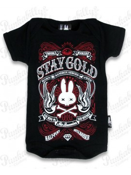 Black and Red Stay Gold Baby Onesie