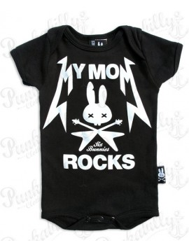 My Mom Rocks Skull and Crossbones Baby Onesie