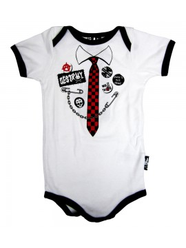 Black and White Punk Tie Baby Onesie