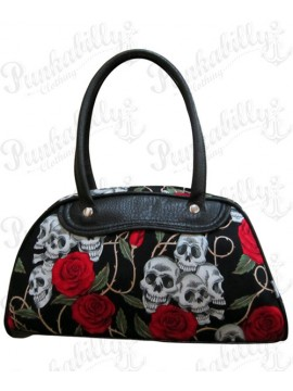 Black Roses and Skulls Handbag