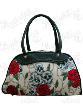 Cream Roses and Skulls Handbag