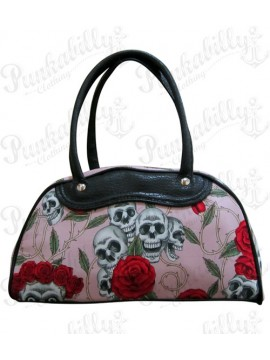 Pink Roses and Skulls Handbag