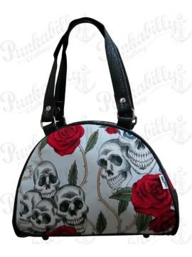 Pale Blue Roses and Skulls Handbag