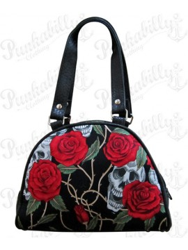 Black Roses and Skulls Mini Handbag