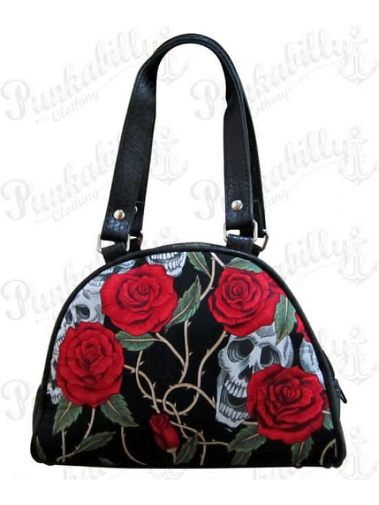 Black Roses and Skulls Mini Handbag