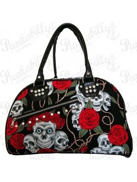 Skulls and Roses Zipper Handbag