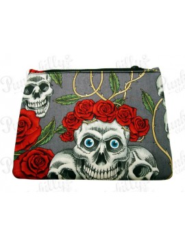 Skulls and Roses Grey Pouch