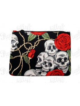 Skulls and Roses Black Pouch