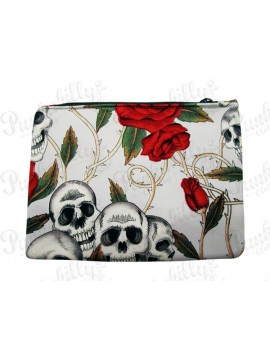 Skulls and Roses Light Blue Pouch