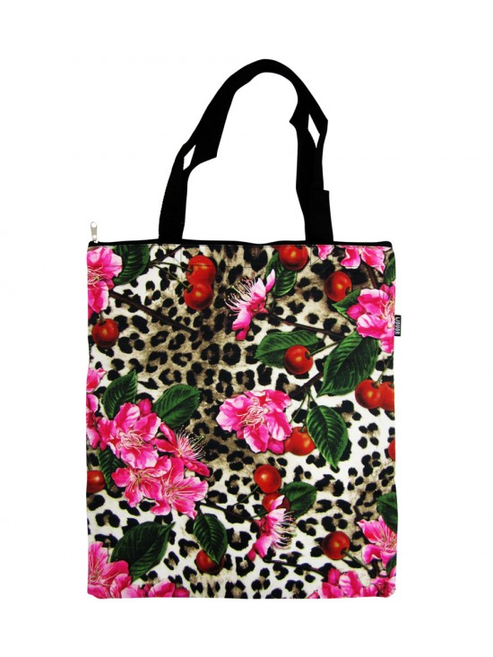 Cherry Blossom Leopard Print Canvas Bag