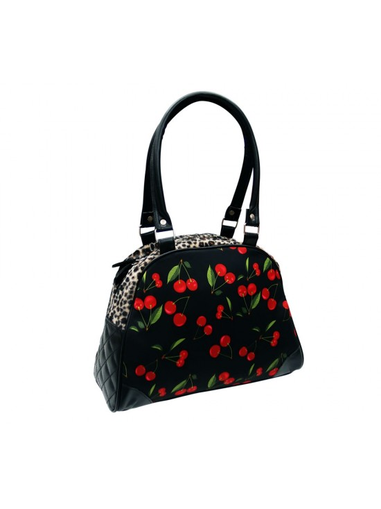 Cherry Handbag with Leopard Print Trim