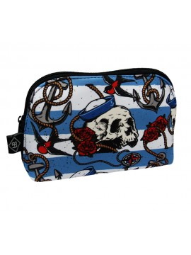 Nautical Striped Canvas Skull Bag