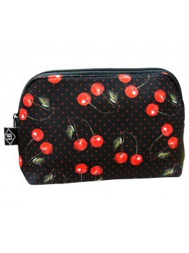 Polka Dot Cherry Makeup Bag