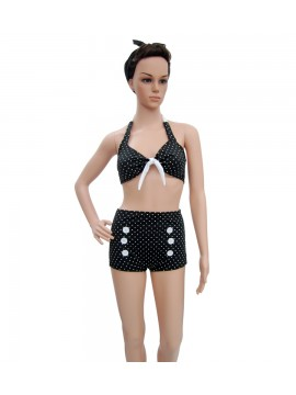 Black and White Polka Dot High-Waisted Bikini