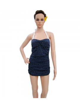 Blue and White Polka Dot One Piece Swimsuit