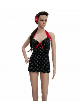 Black White and Red Halter Swimsuit