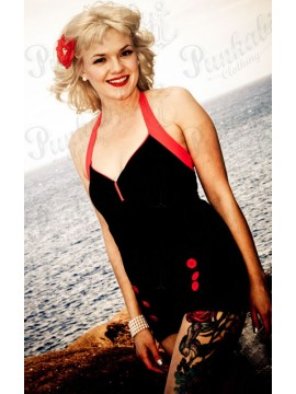 Black and Red Vintage Swimsuit