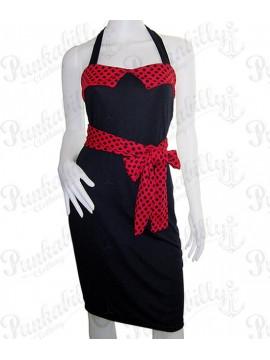 Black Halter Dress with Red Trim