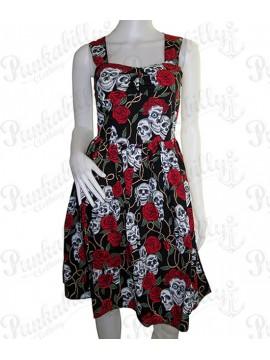 Black Skulls and Roses Summer Dress