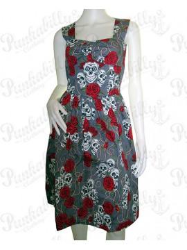 Grey Skull and Roses Summer Dress