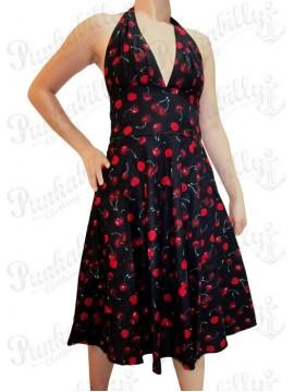 Black Cherry Plunge Neck Halter Dress
