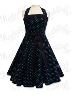 Black and Baby Blue Polka Dot Swing Dress