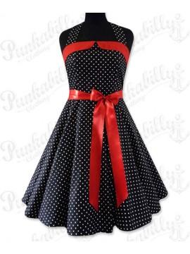 Black White and Red Polka Dot Swing Dress
