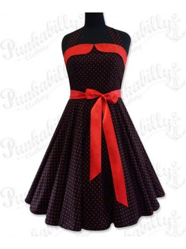 Black Swing Dress with Red Polka Dots