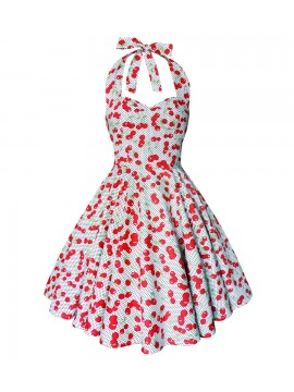 Cherry Polka Dot White Swing Dress