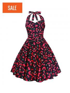 Cherry Polka Dot Black Swing Dress