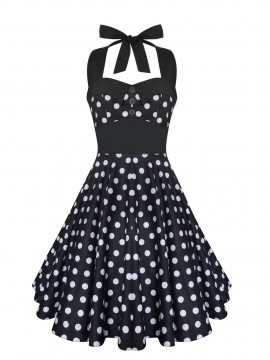 Black and White Halter Rockabilly Swing Dress