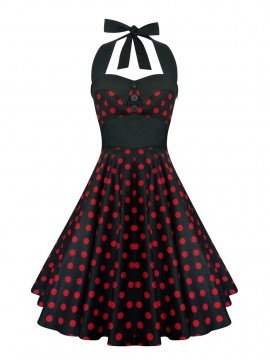 Black and Red Halter Rockabilly Swing Dress