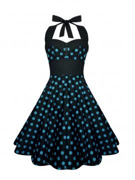 Blue and Black Halter Rockabilly Swing Dress