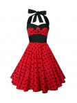 Red and Black Polka Dot Pinup Dress