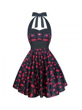 Black Halter Cherry Party Dress