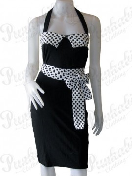 Belted Black and White Wiggle Dress