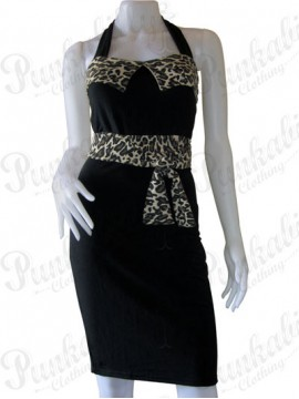 Belted Black and Leopard Print Wiggle Dress