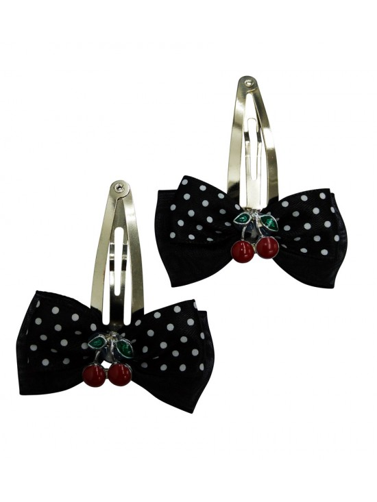 Black Hair Pins with Black Polka Dot Cherry Overlay