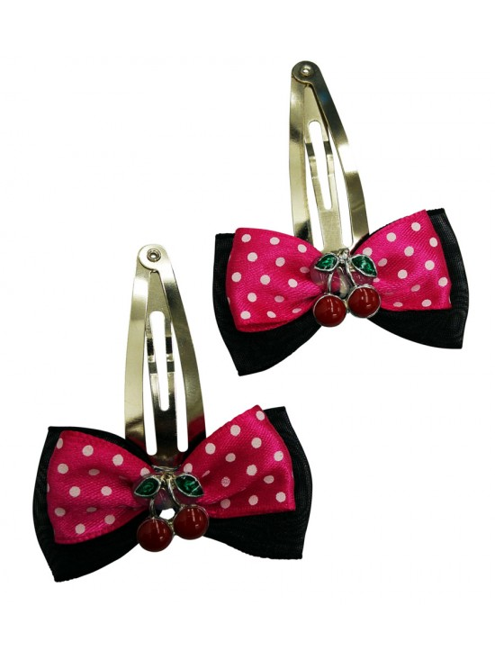 Black Hair Pins with Pink Polka Dot Cherry Overlay