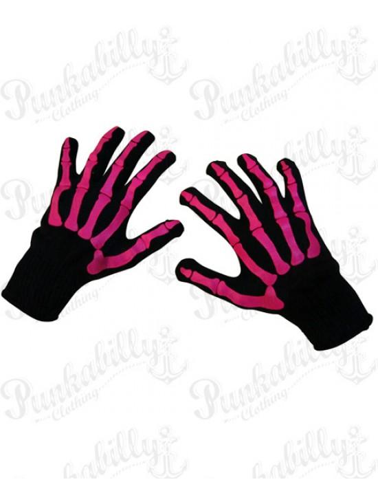 Unisex Gloves with Pink Skeleton Design