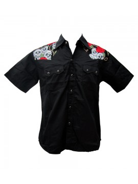 Skull Shoulders Short Sleeve Work Shirt