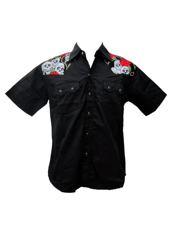 Skull Shoulders Short Sleeve Work Shirt