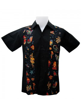 Famous Tattoos Short Sleeve Work Shirt