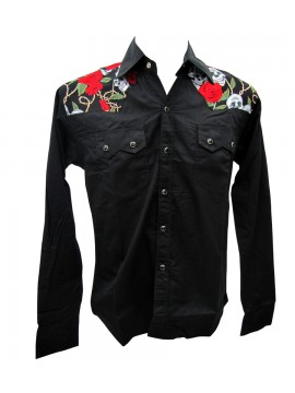 Skull Shoulders Long Sleeve Work Shirt