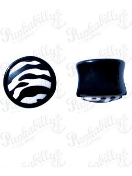 Black & White acrylic plug with enamel zebra design