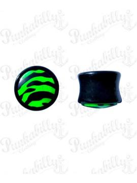 Black & Green acrylic plug with enamel zebra design