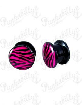 Pink Zebra Design Acrylic Plug