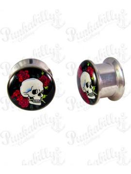 Skull Rose Stainless Steel Plug